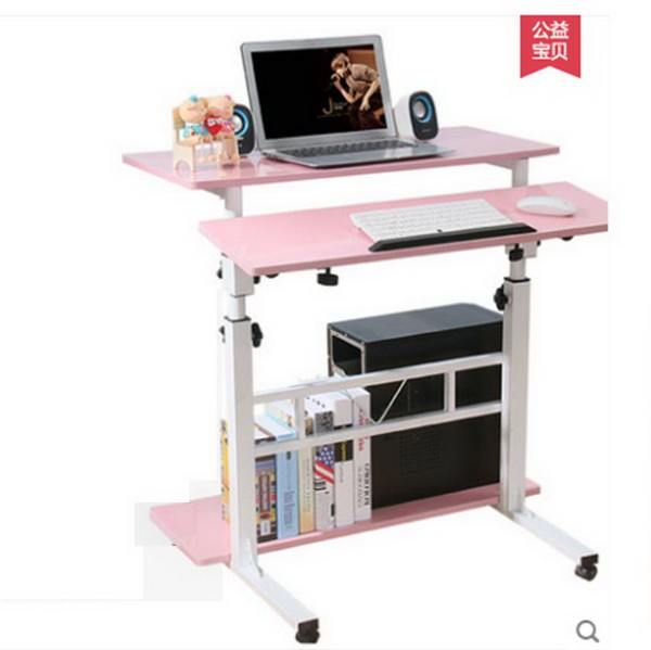Pre-order โต๊ะทำงานปรับระดับ โต๊ะคอมพิวเตอร์ปรับระดับ โต๊ะพรีเซนต์งาน โต๊ะยืนทำงาน สีชมพู