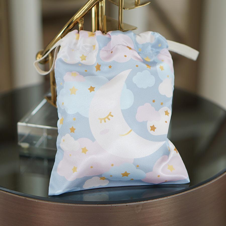 ถุงผ้าซาติน ลาย Moon - Grey
