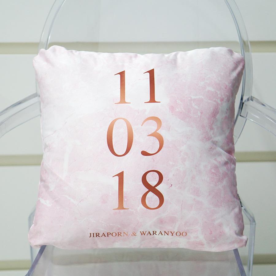 หมอนอิงสั่งทำใส่ชื่อ ลาย Pink Marble - Date