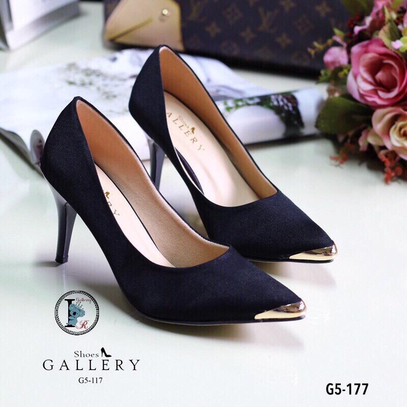 รองเท้าคัทชูซาตินอะไหล่ทอง (สีดำ)