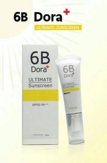 **พร้อมส่ง**6B Dora+ ULTIMATE Sunscreen SPF50 PA+++30 g. 6B บล็อกแดด กันแดดเนื้อมูส ใช้แทนรองพื้นได้ ปกป้องผิวหน้าจากแดดได้นานทั้งวัน เช้าถึงเย็น ต่างจากกันแดดทั่วไปที่ต้องทาซ้ำทุก 4 ช.ม. ด้วยเทคโนโลยีกระจายแสง ทำให้หน้าเนียน ใช้แทนรองพื้นได้ ไม่หนักหน้า