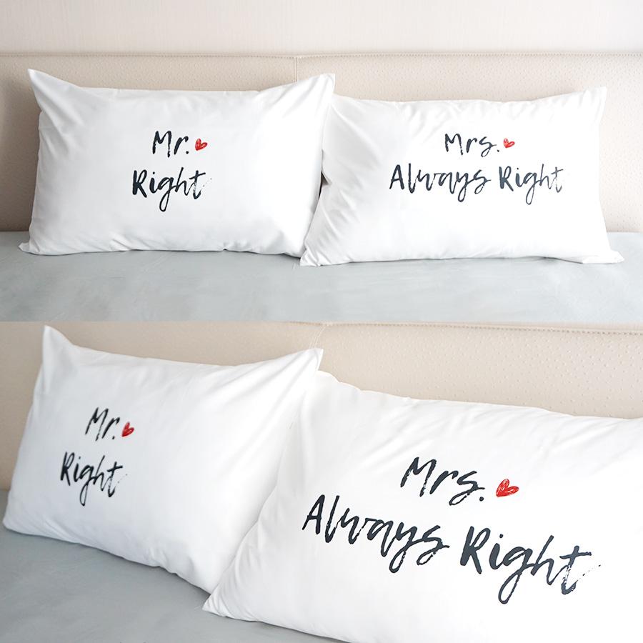 ปลอกหมอนหนุนคู่ Mr.&Mrs. Right - White