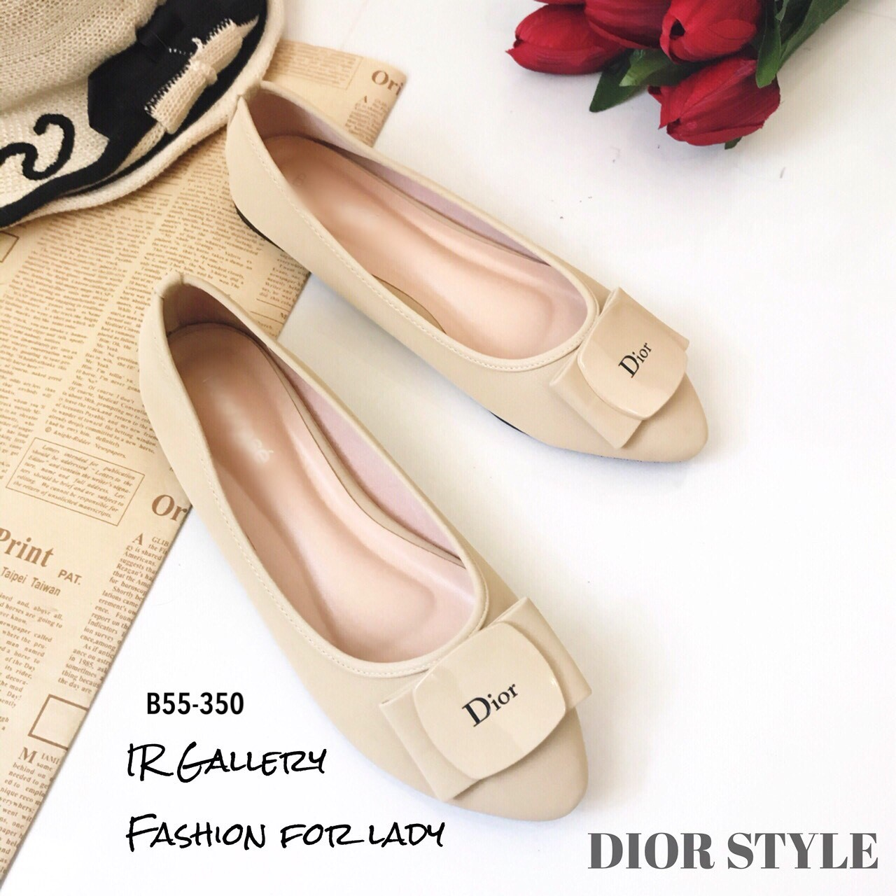 รองเท้าคัทชูส้นแบน Style Dior (สีครีม)
