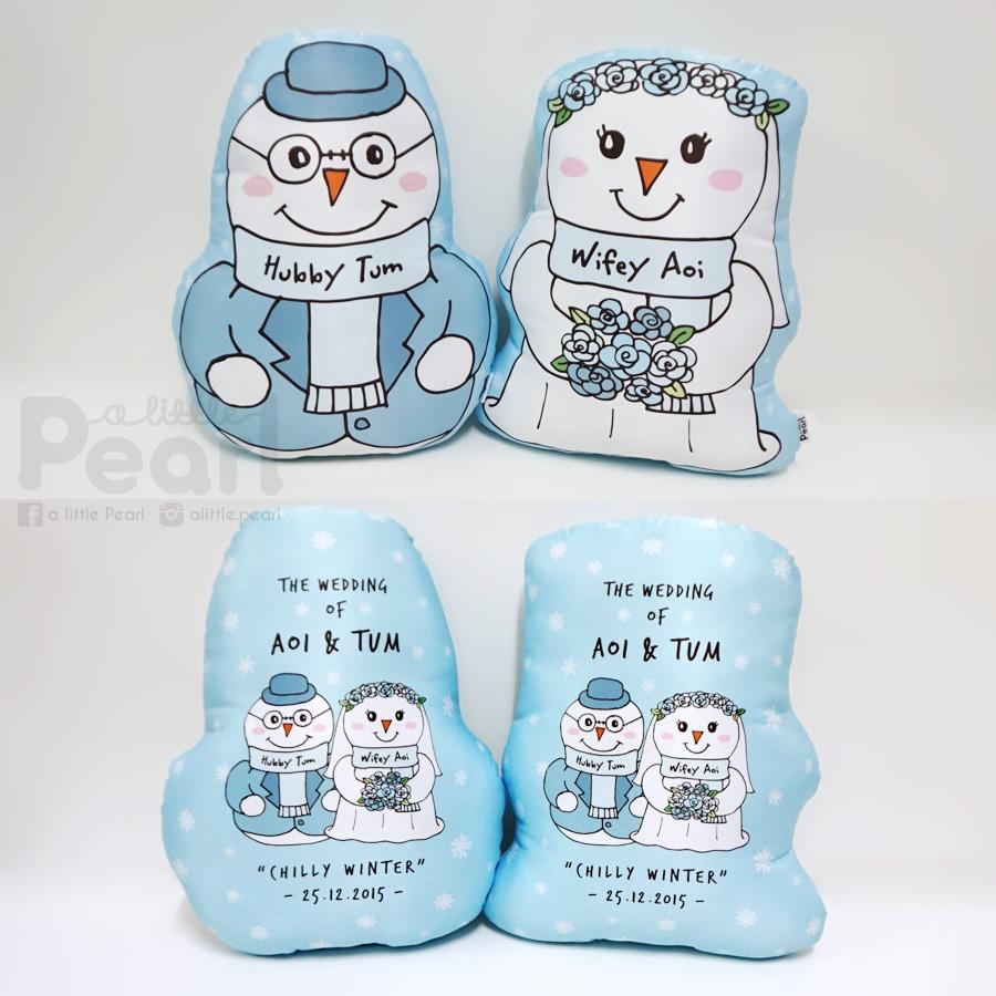 หมอนลาย Snowman - Bride and Groom