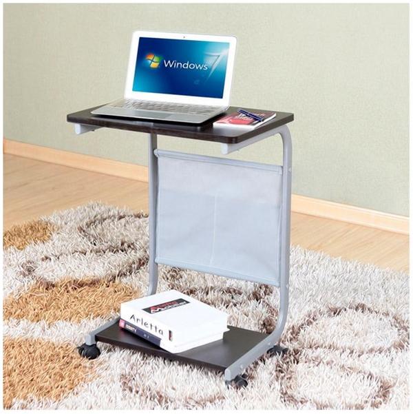 Pre-order โต๊ะแล็ปท็อป โต๊ะวางคอมพิวเตอร์ โต๊ะทำงาน มีล้อเลื่อน สีวอลนัท