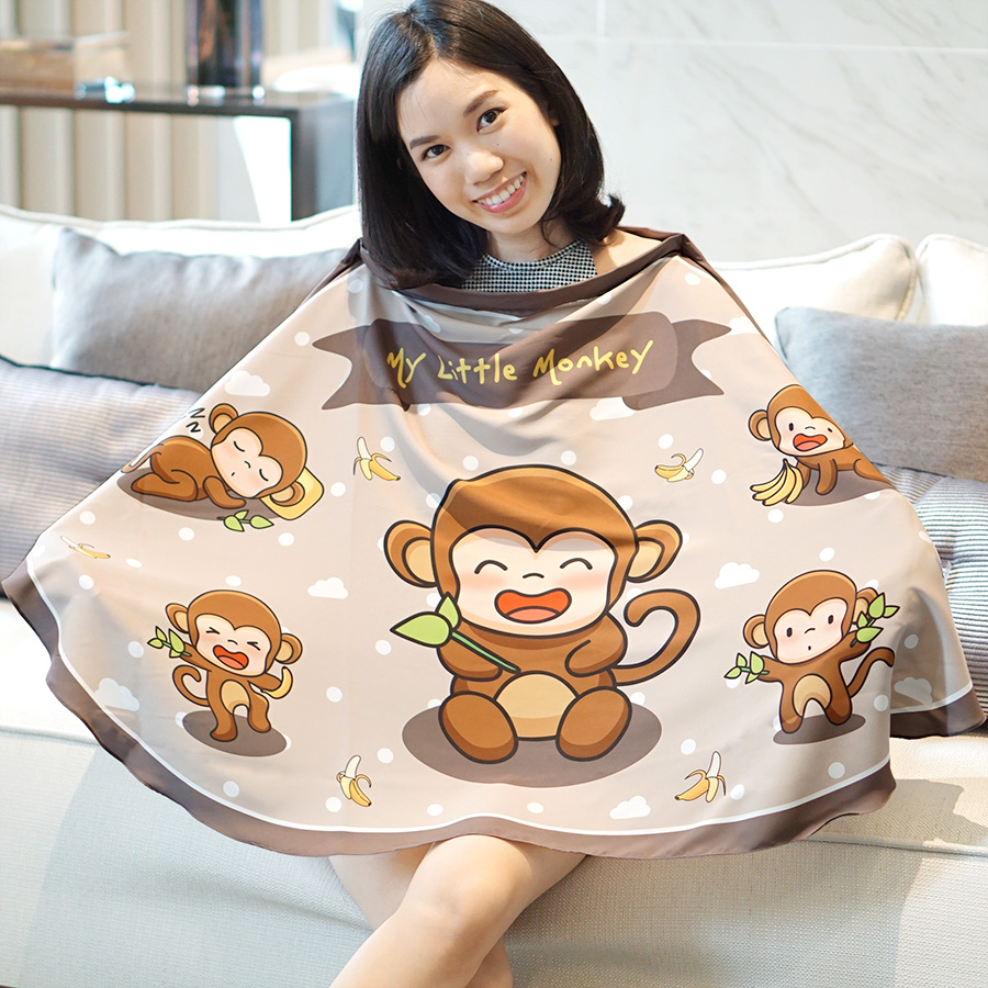 ผ้าคลุมให้นม สั่งทำใส่ชือ ลาย Monkey - Coffee