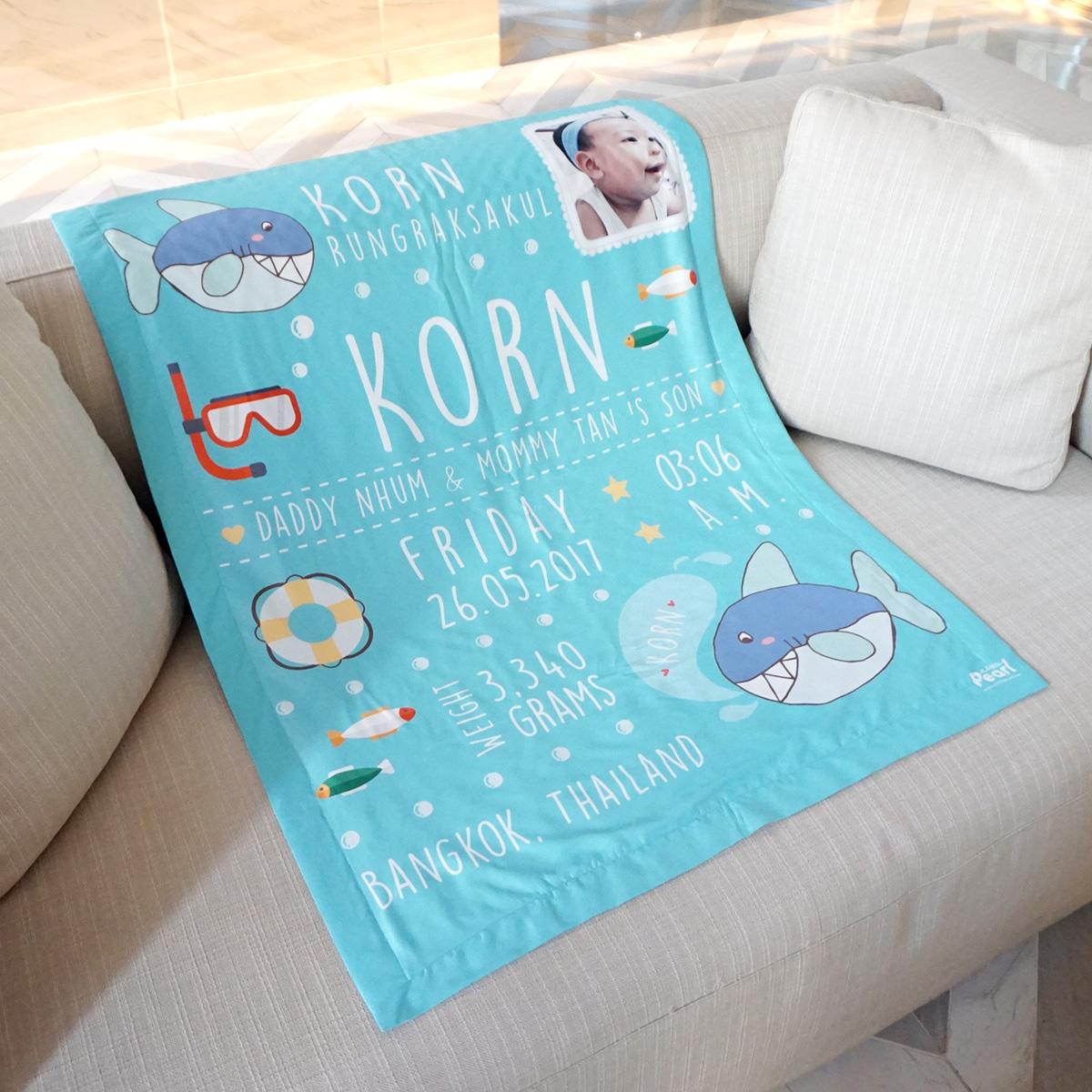 ผ้าห่ม ใส่ประวัติแรกเกิด+รูปถ่าย ลายฉลาม Shark - Turquoise