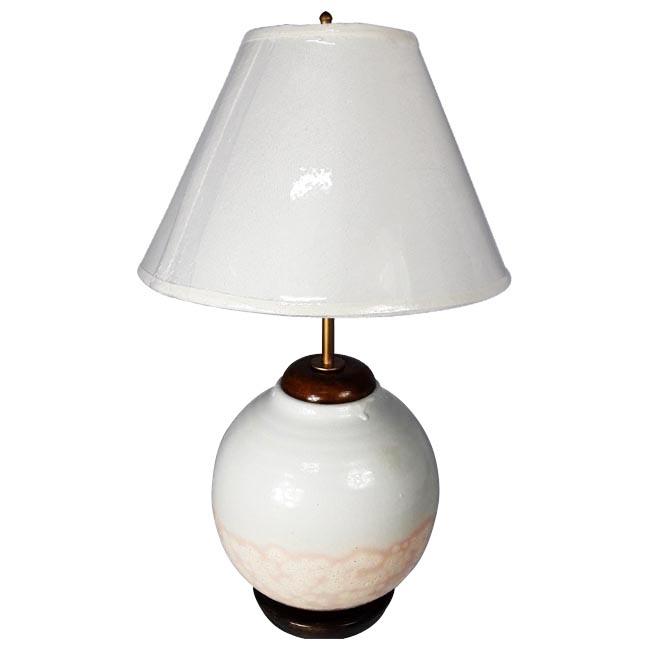 โคมไฟเซรามิก โคมไฟวินเทจ แบบตั้งโต๊ะ ขาวชมพู