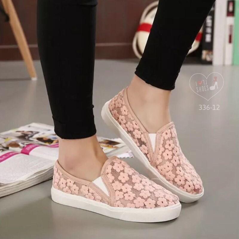 พร้อมส่ง : รองเท้าผ้าใบลูกไม้ทรงLoafer (สีชมพูโอลด์โรส)