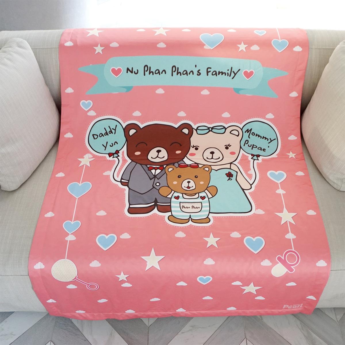 ผ้าห่มเด็ก ใส่ชื่อ ลายครอบครัวหมี Teddy's Family - Pink / ไซส์ใหญ่ 100x150cm
