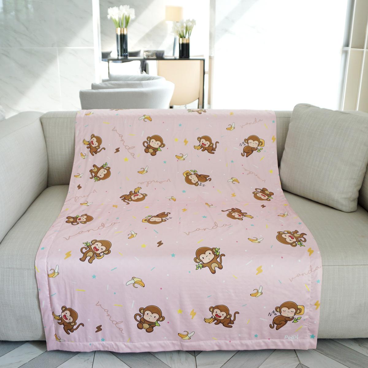 ผ้าห่ม ใส่ชื่อ Monkey Pattern - Pink ไซส์ใหญ่ 100x150cm