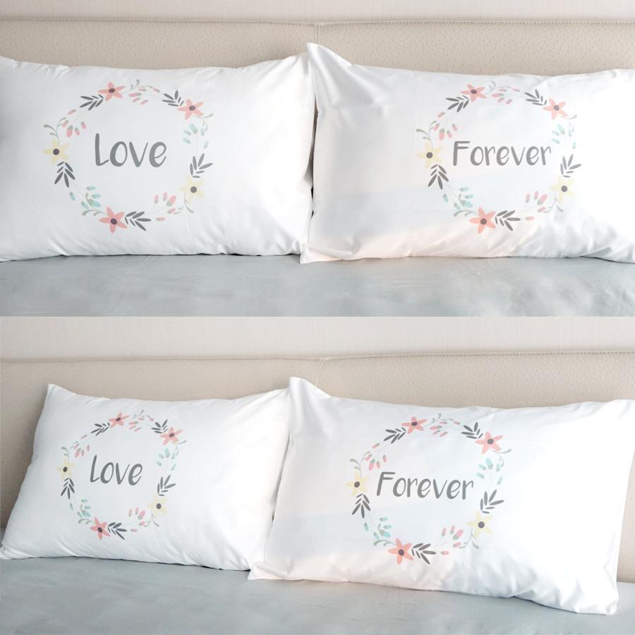 ปลอกหมอนหนุนคู่ Floral Frame - Grey - Love Forever