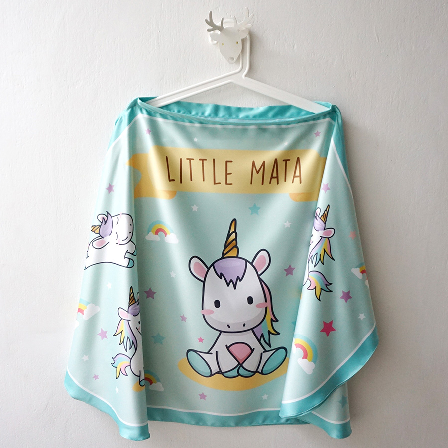 ผ้าคลุมให้นม สั่งทำใส่ชือ ลาย Unicorn - Mint