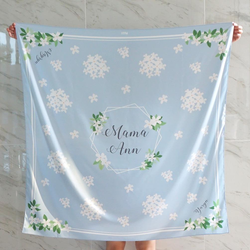 ผ้าพันคอ ลาย Jasmine - Hexagon - Blue สั่งทำใส่ชื่อ