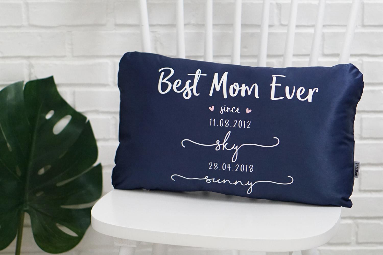 หมอนอิงทรงสี่เหลี่ยมยาว Navy Best Mom Ever - White