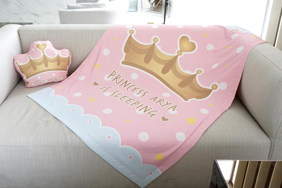 ผ้าห่ม ใส่ชื่อ ลายเจ้าหญิง สีชมพู ไซส์ใหญ่ 100x150cm