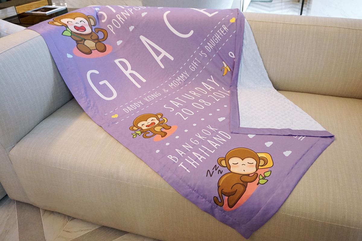 ผ้าห่ม ใส่ประวัติแรกเกิด ลายลิง สีม่วง ไซส์ใหญ่ 100x150cm