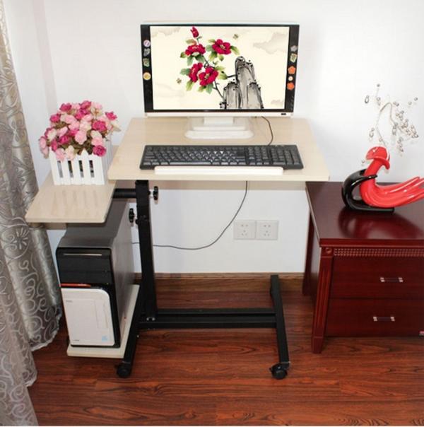 Pre-order โต๊ะทำงาน โต๊ะวางคอมพิวเตอร์ โต๊ะวางแล็ปท้อป แบบมัลติฟังก์ชั่นมีที่วางคีย์บอร์ด ปรับระดับได มีล้อเลื่อน สีขาว