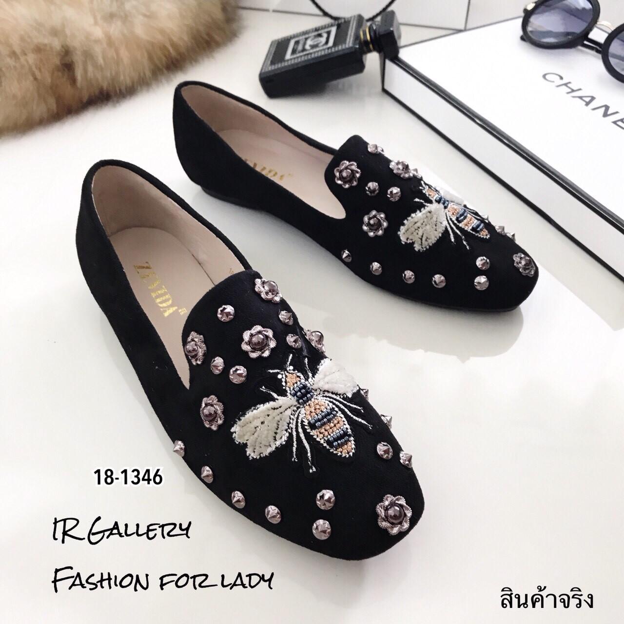 รองเท้าคัทชูทรงสวมปักลายผึ้ง Style Gucci (สีดำ)