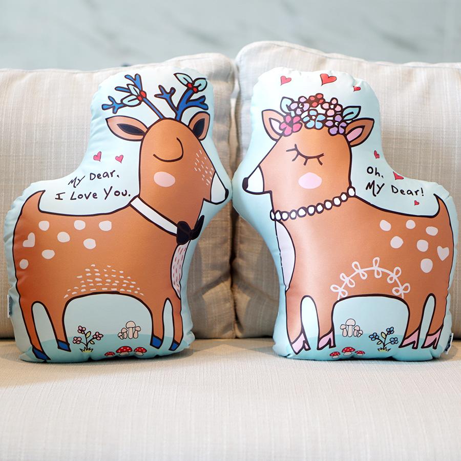 หมอนกวาง 2in1 Couple Deer Pillow สี Mint