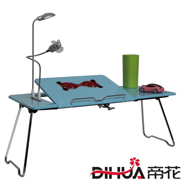 Pre-order ชุดโต๊ะคอมพิวเตอร์ โต๊ะแล็ปท้อปสีฟ้า แบบมีพัดลมระบายอากาศ มีช่อง USB และโคมไฟ LED ส่องสว่าง