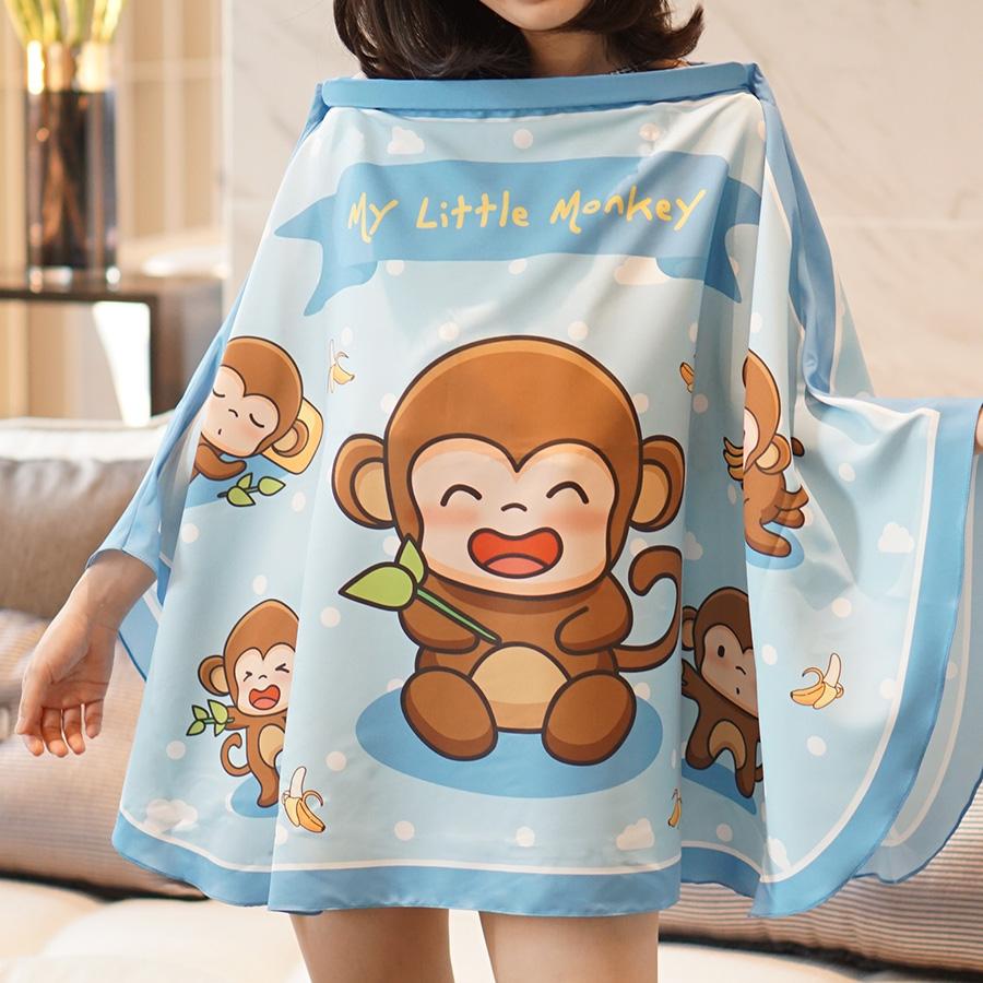 ผ้าคลุมให้นม สั่งทำใส่ชือ ลาย Monkey - Blue