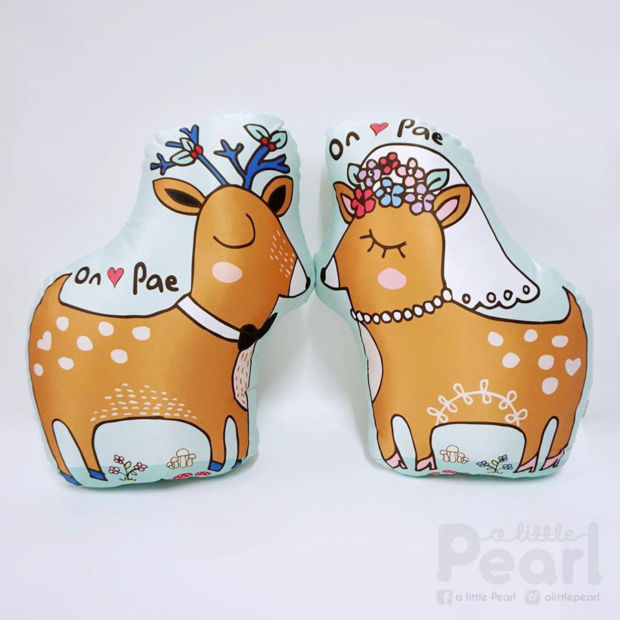 หมอนสั่งทำใส่ชื่อ รูปกวาง Deer