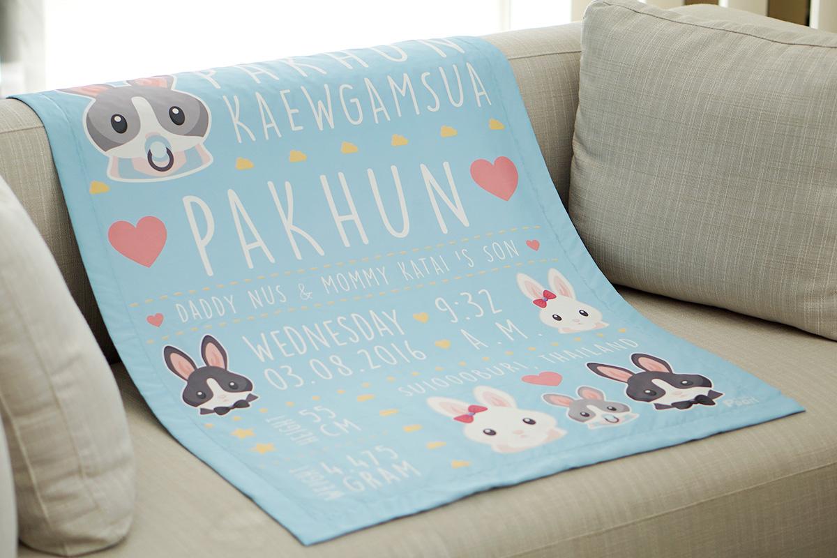 ผ้าห่มเด็ก ใส่ประวัติแรกเกิด ลายกระต่าย สีฟ้า / Rabbit Family - Blue
