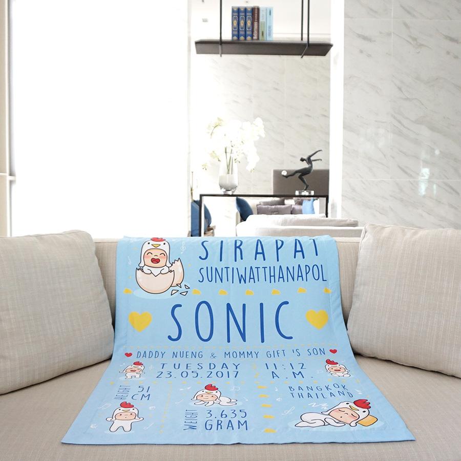 ผ้าห่มเด็ก ใส่ประวัติแรกเกิด ลายกุ๊กไก่ สีฟ้า / Kook Kai - Blue