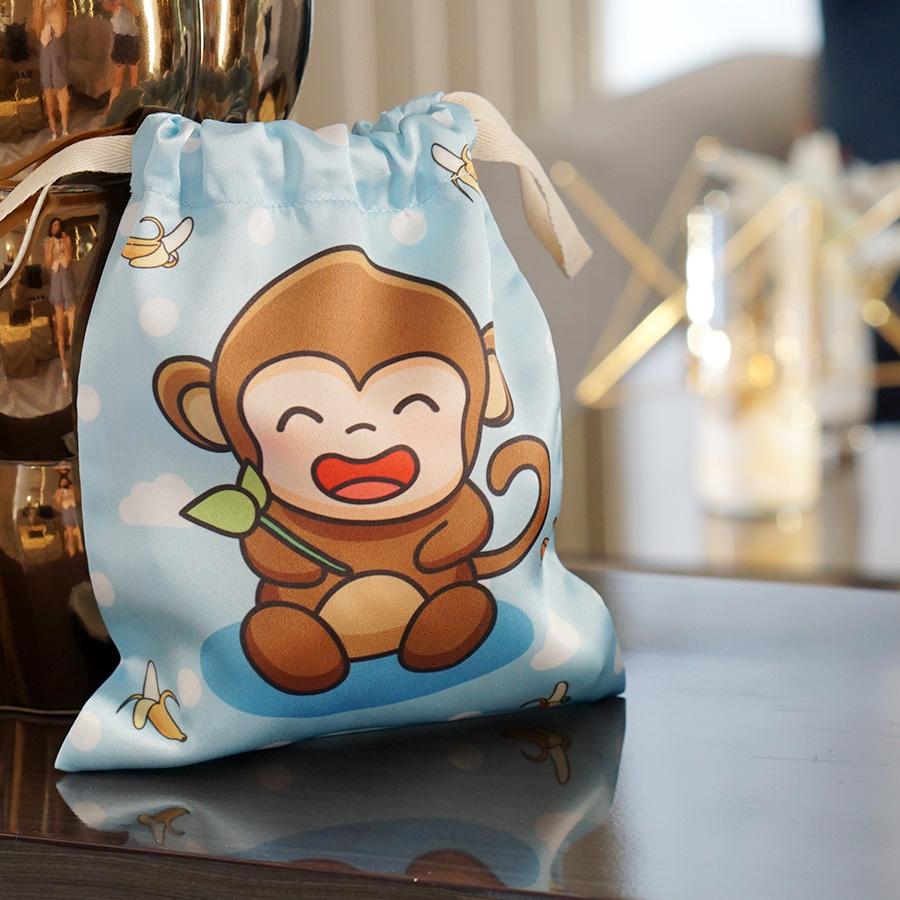 ถุงผ้าซาติน ลายลิงสีฟ้า - Monkey - Blue
