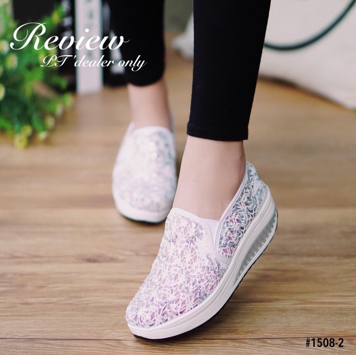 รองเท้าลูกไม้ทรงสปอร์ต (สีขาว)
