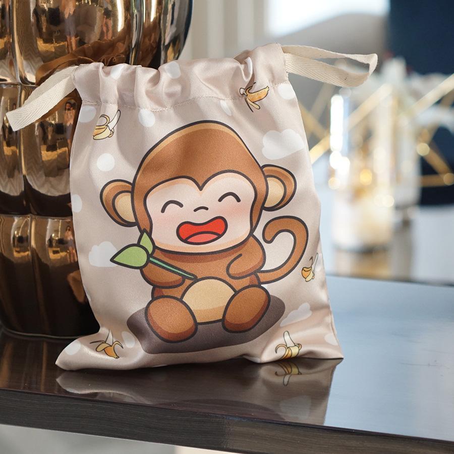 ถุงผ้าซาติน ลายลิงสีน้ำตาล - Monkey - Brown