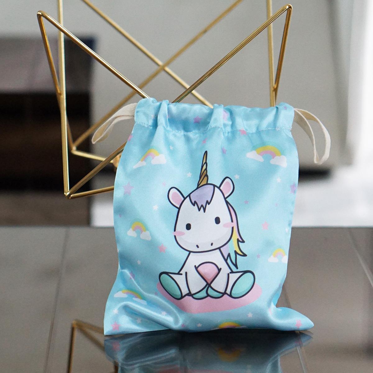 ถุงผ้าซาติน ลาย Unicorn - Blue