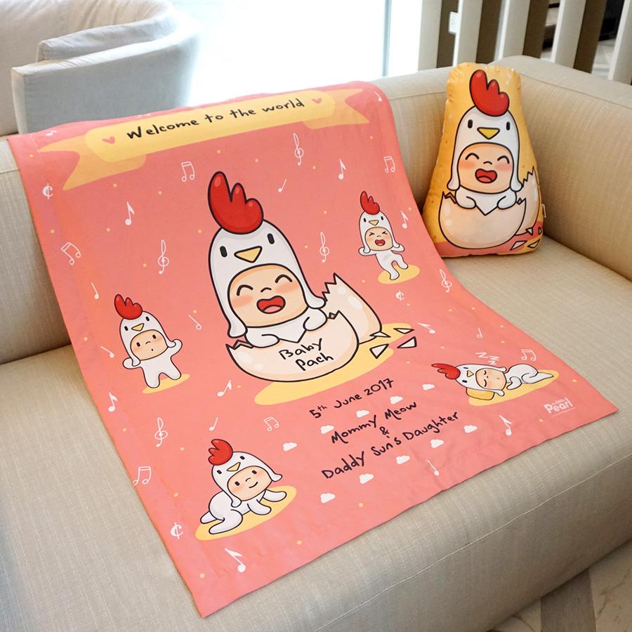 ผ้าห่มเด็ก ใส่ชื่อ ลายกุ๊กไก่ สีโอรส / Kook Kai - Old Rose
