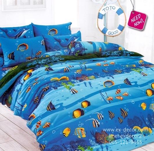 ชุดผ้าปูที่นอน ปลอกหมอน ผ้าห่มนวม หมอนข้าง TOTO ลายปลาทะเล ลายทะเล