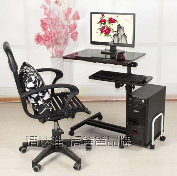 Pre-order โต๊ะทำงาน โต๊ะวางคอมพิวเตอร์ โต๊ะวางแล็ปท้อป แบบมัลติฟังก์ชั่นมีที่วางคีย์บอร์ด ปรับระดับได มีล้อเลื่อน สีดำ