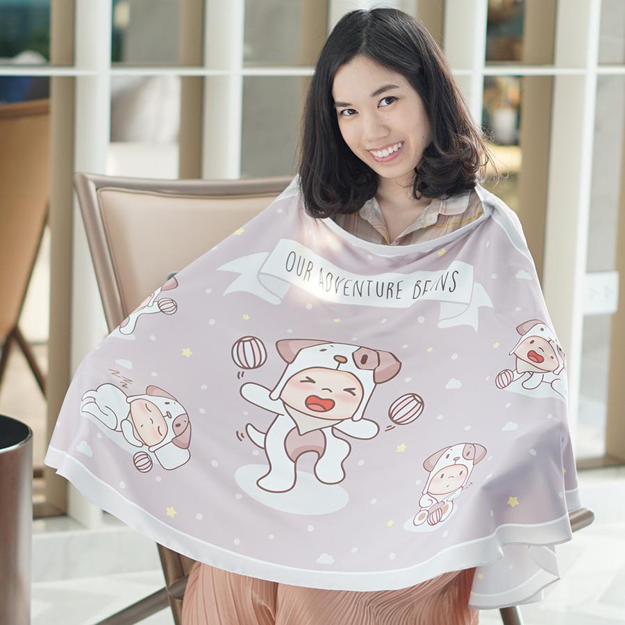 ผ้าคลุมให้นม สั่งทำใส่ชือ ลาย Puppy - Taupe