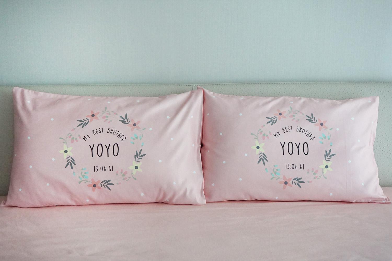 ปลอกหมอนหนุนคู่ พิมพ์ลายเต็มผืน Polka Dot - Pink - Floral Frame
