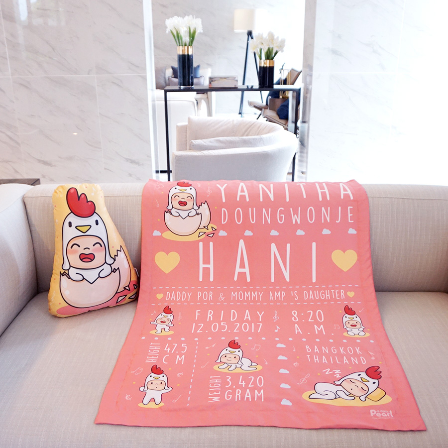 ผ้าห่มเด็ก ใส่ประวัติแรกเกิด ลายกุ๊กไก่ สีชมพู/ Kook Kai - Old Rose