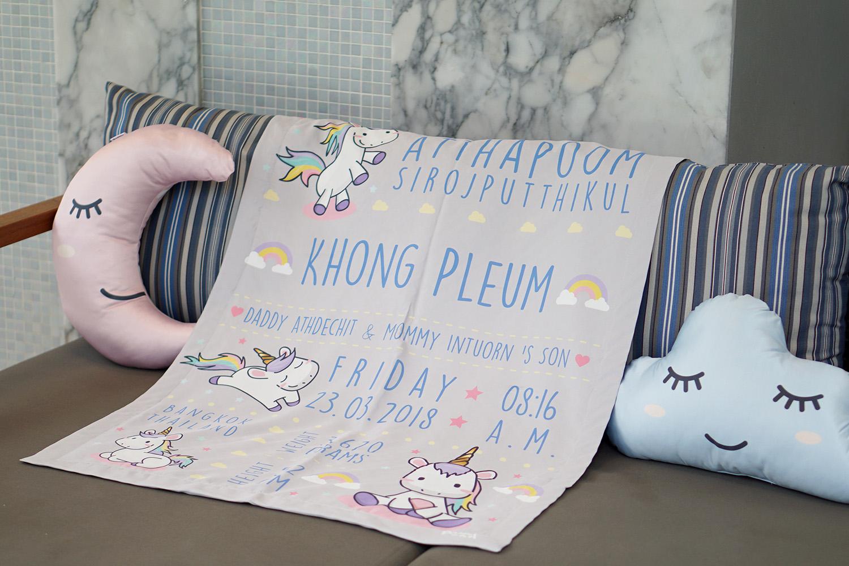 ผ้าห่มเด็ก ใส่ประวัติแรกเกิด ลายยูนิคอร์น - Unicorn - Grey