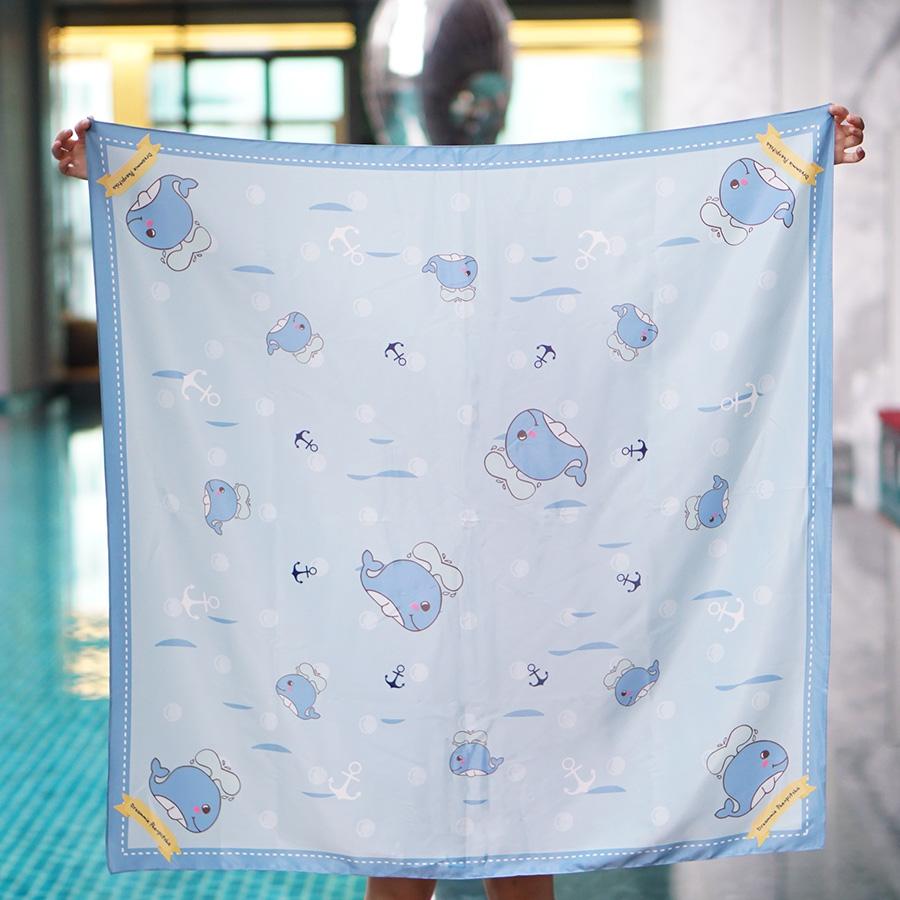 ผ้าพันคอ ลายปลาวาฬ - Whale - สั่งทำใส่ชื่อ
