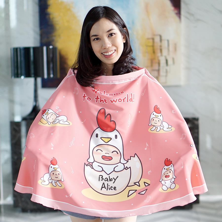 ผ้าคลุมให้นม สั่งทำใส่ชือ ลาย Kook Kai - Pink