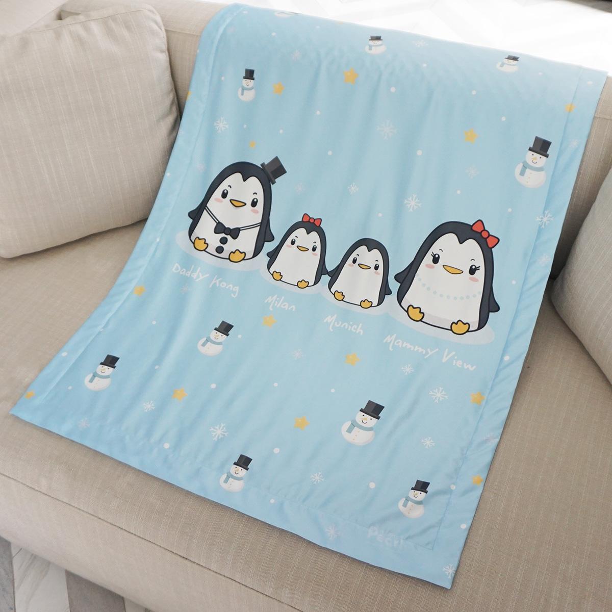 ผ้าห่มเด็ก ใส่ชื่อ ลายครอบครัวเพนกวิ้น Penguin Family - Blue