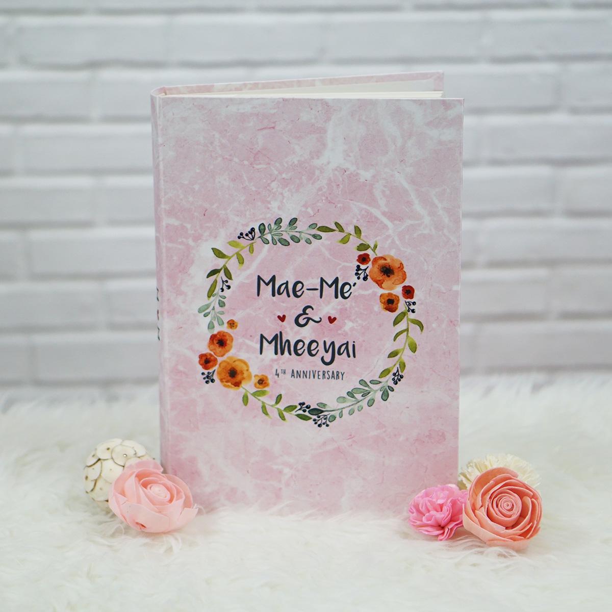 """อัลบั้ม 300 รูป (4x6"""") ลายหินอ่อนสีชมพู Watercolour Floral Frame - สั่งทำใส่ชื่อ"""
