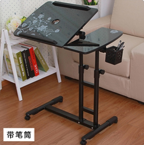Pre-order โต๊ะทำงาน โต๊ะวางคอมพิวเตอร์ โต๊ะวางแล็ปท้อป ขาคู่ แบบมัลติฟังก์ชั่น ปรับระดับได มีล้อเลื่อน แผ่นท้อปเจาะช่องสอดสายไฟ พิมพ์ลาย สีดำ