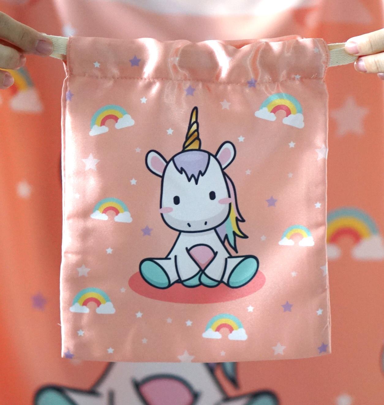 ถุงผ้าซาติน ลาย Unicorn - Peach