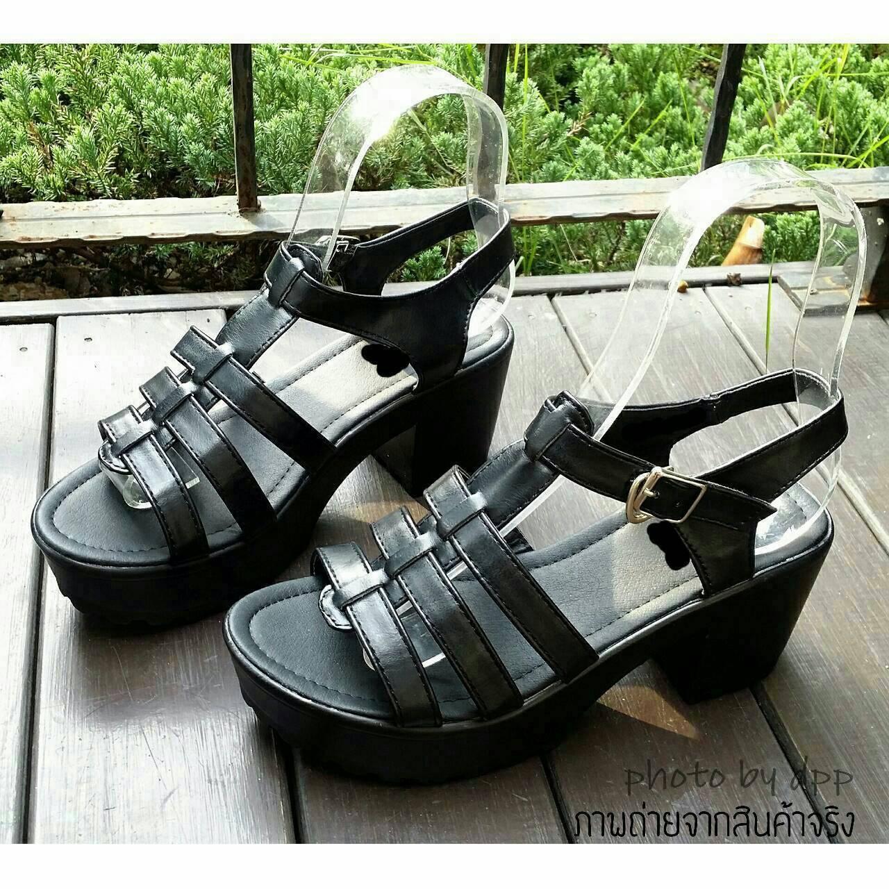 พร้อมส่ง : รองเท้าStyle nanda Shoesหน้าสาน (สีดำ)