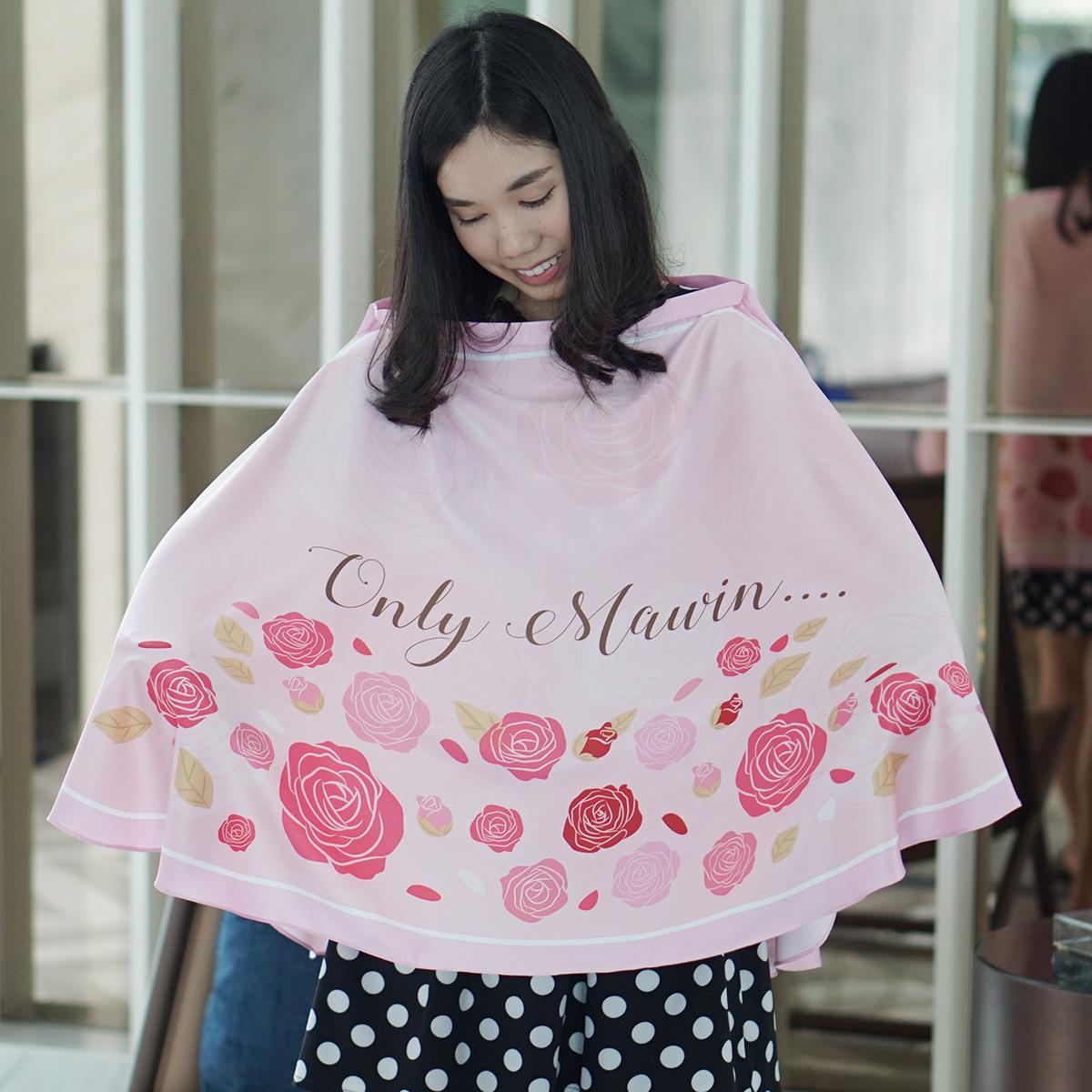 ผ้าคลุมให้นม สั่งทำใส่ชือ ลาย Rose - Pink