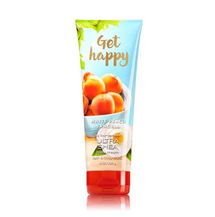 **พร้อมส่ง**Bath & Body Works Get Happy White Peach Sangria Shea & Vitamin E Body Cream 226g. ครีมบำรุงผิวสุดเข้มข้น มีกลิ่นหอมติดทนนาน ด้วยกลิ่นหอมแนวฟรุ๊ตตี้ กลิ่นพีชผสมกลิ่นส้ม หอมสดชื่นเหมือนน้ำผลไม้หอมๆเลยค่ะ ,