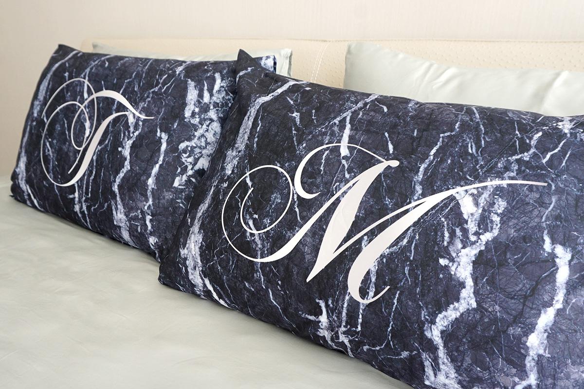 ปลอกหมอนหนุนคู่ลายหินอ่อน - Navy Marble - Calligraphy - Silver